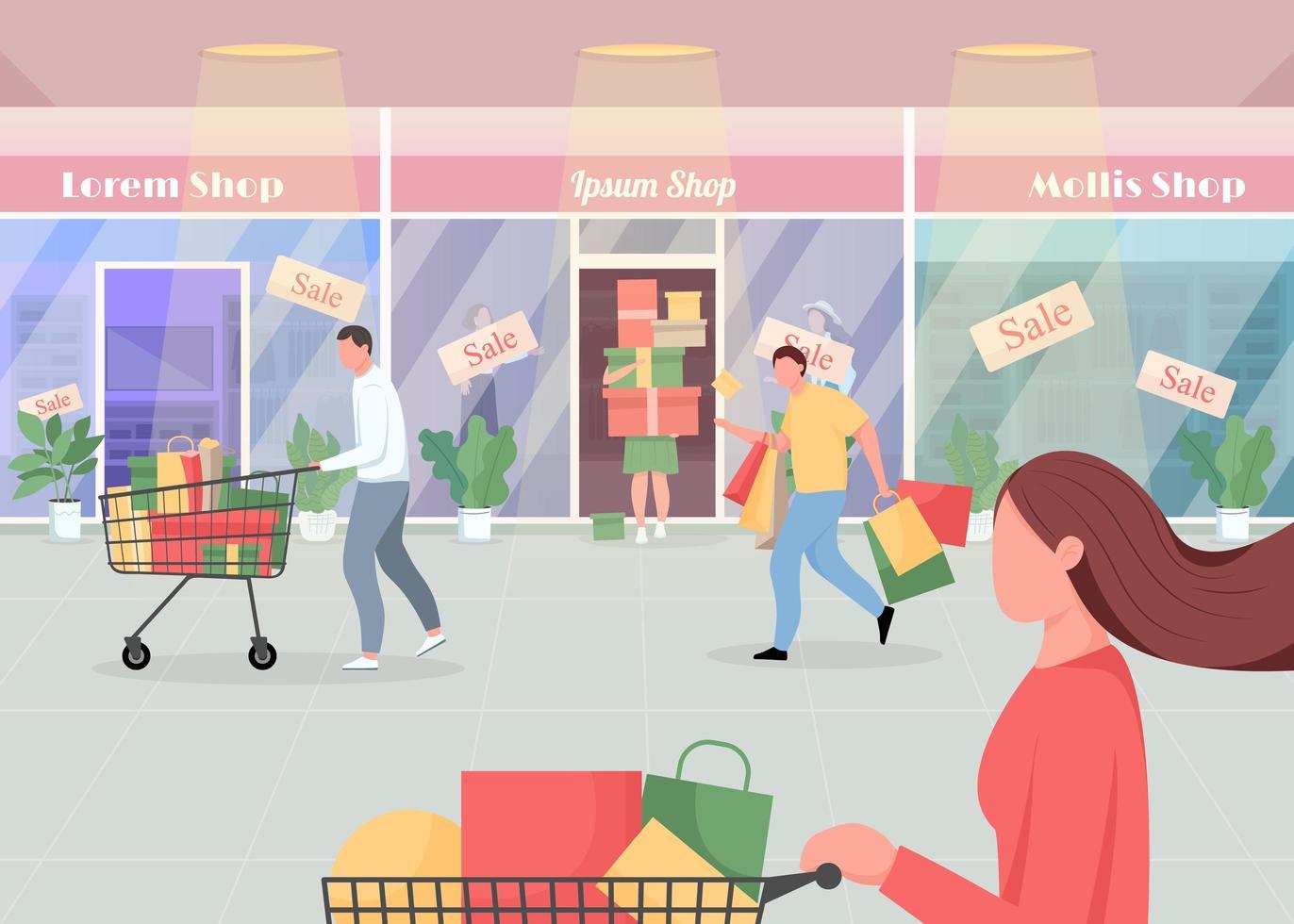 seizoensgebonden verkoop in winkelcentrum vector
