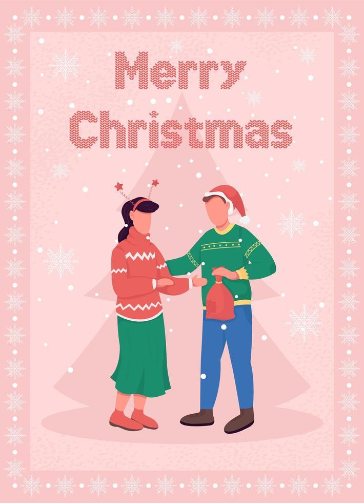 kerstviering voor paar wenskaart vector