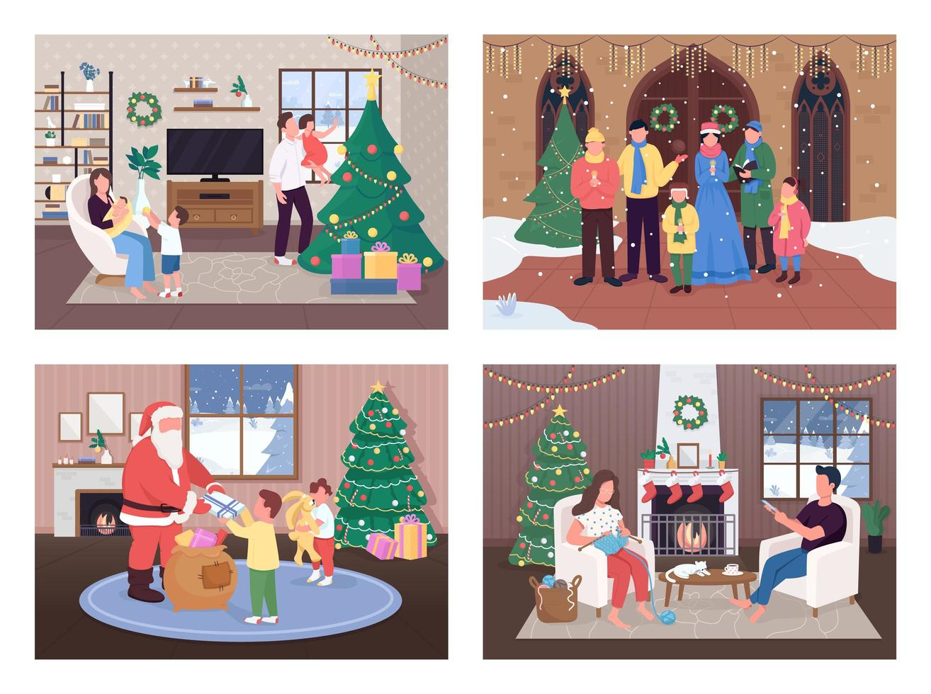 kerstviering set vector