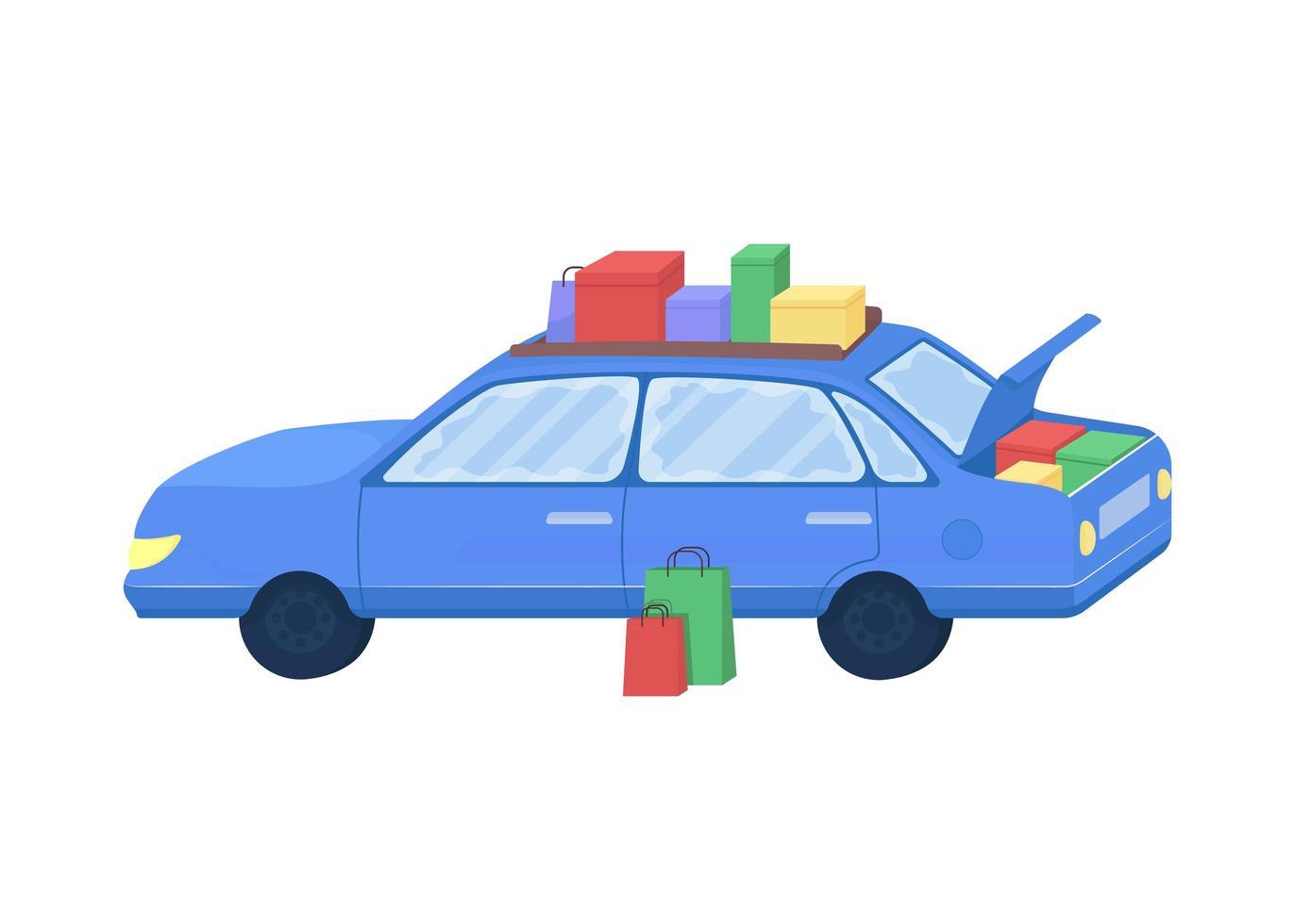 auto met gekochte goederen vector