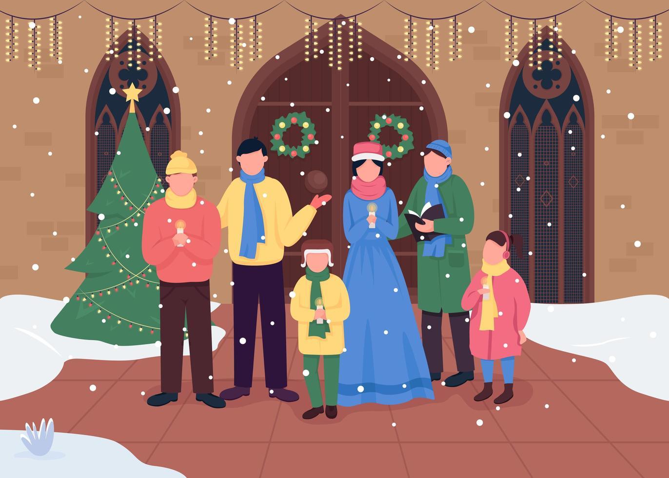 kerstkerkkoor vector
