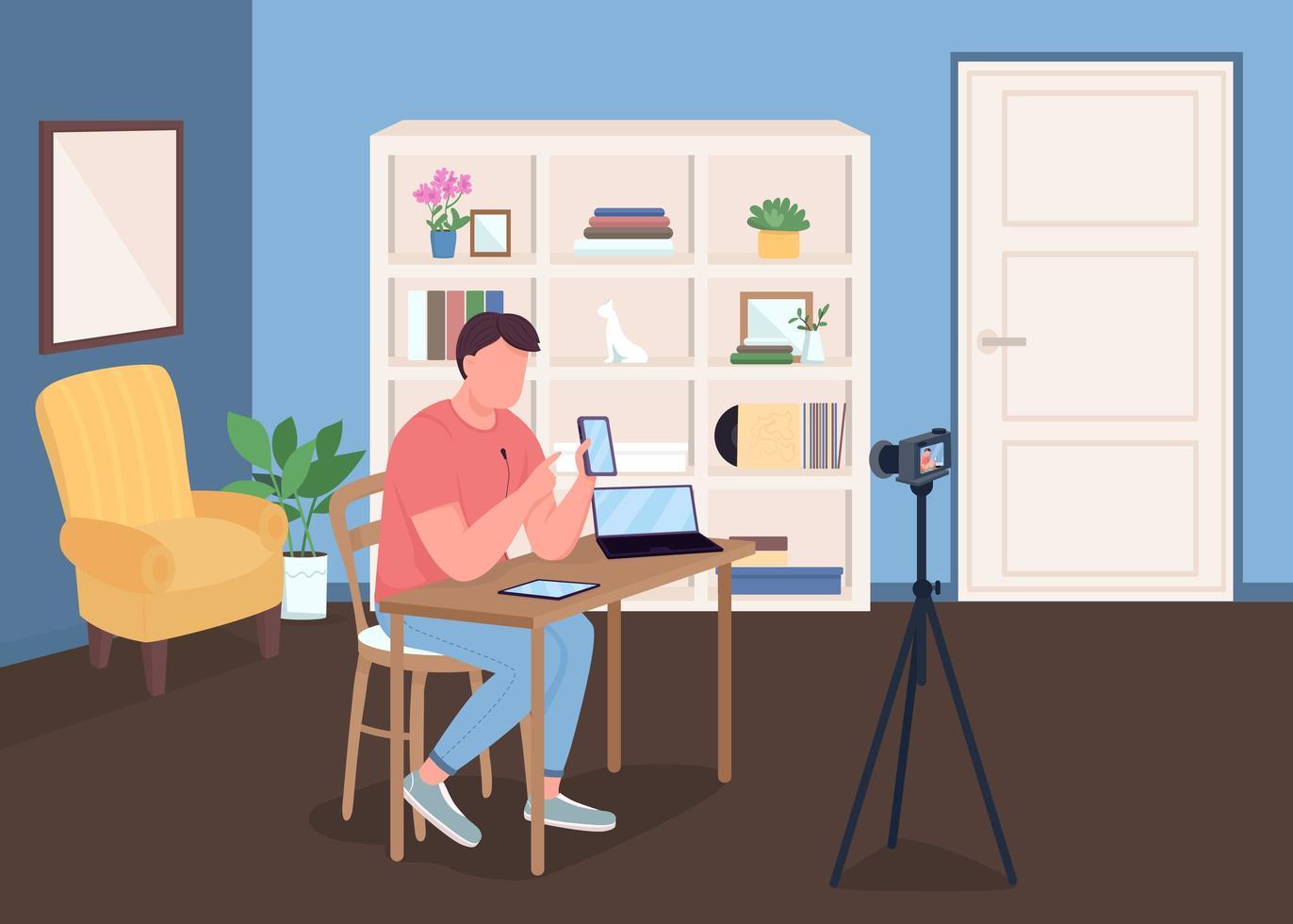vlogger die tegen de camera praat vector