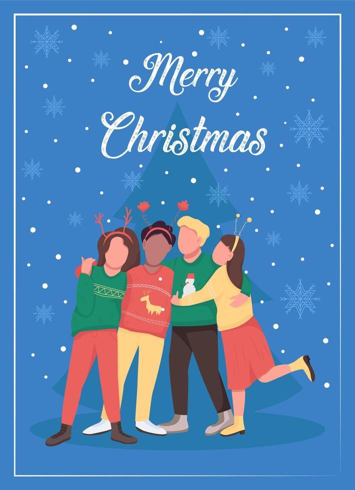 kerstfeest met vrienden wenskaart vector