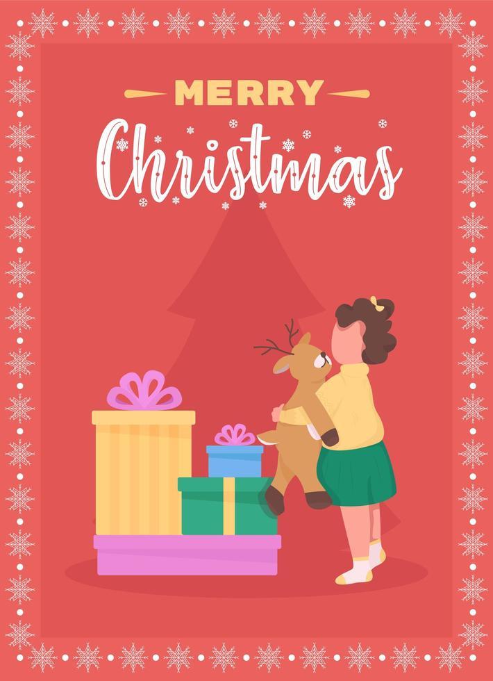 vrolijk kerstfeest voor kinderen wenskaart vector