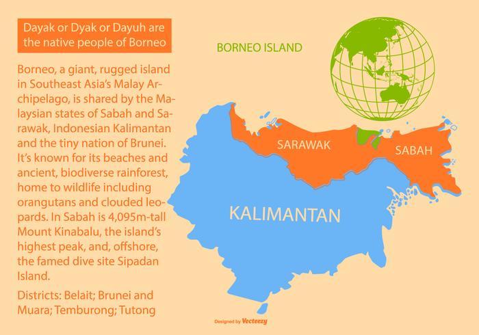 Kleurrijke Borneo Island Map vector