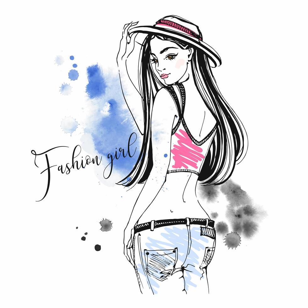 mode meisje in jeans en hoed. schets- en aquarelvlekken. vector