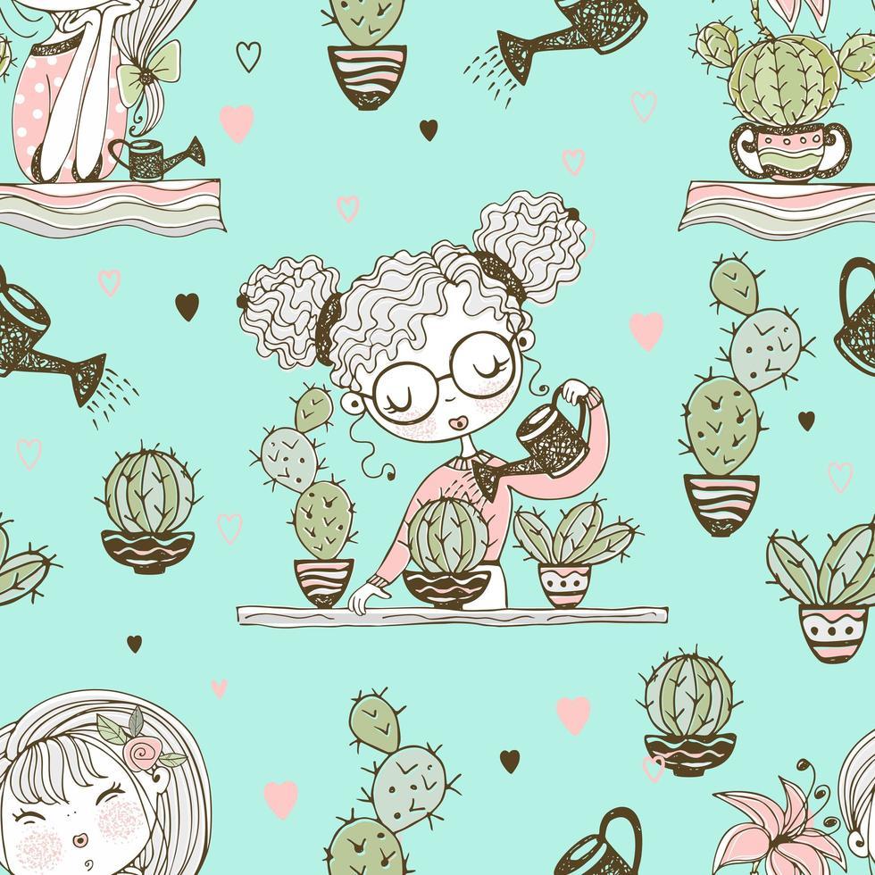 naadloze patroon met schattige meisjes die cactussen kweken. vector