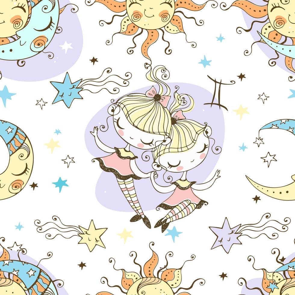 een leuk naadloos patroon voor kinderen. Zodiac Tweelingen. vector