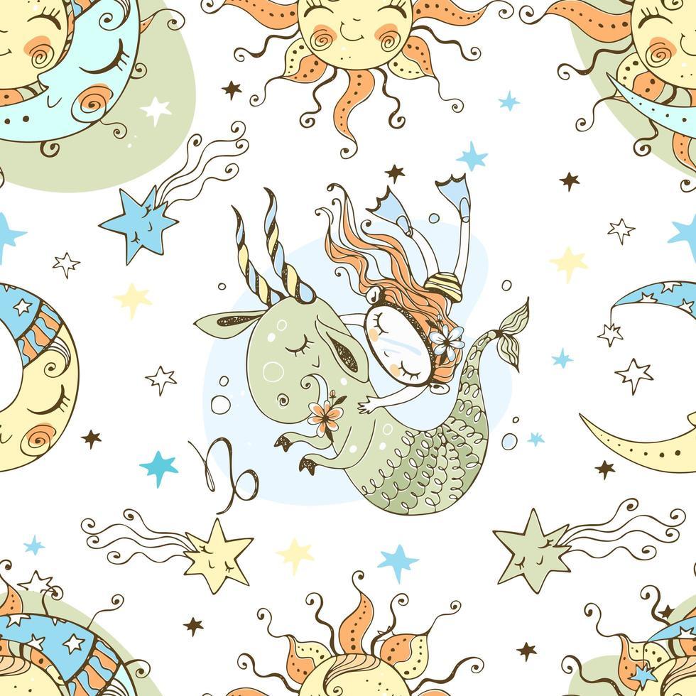een leuke naadloze patronen voor kinderen. dierenriem Steenbok. vector