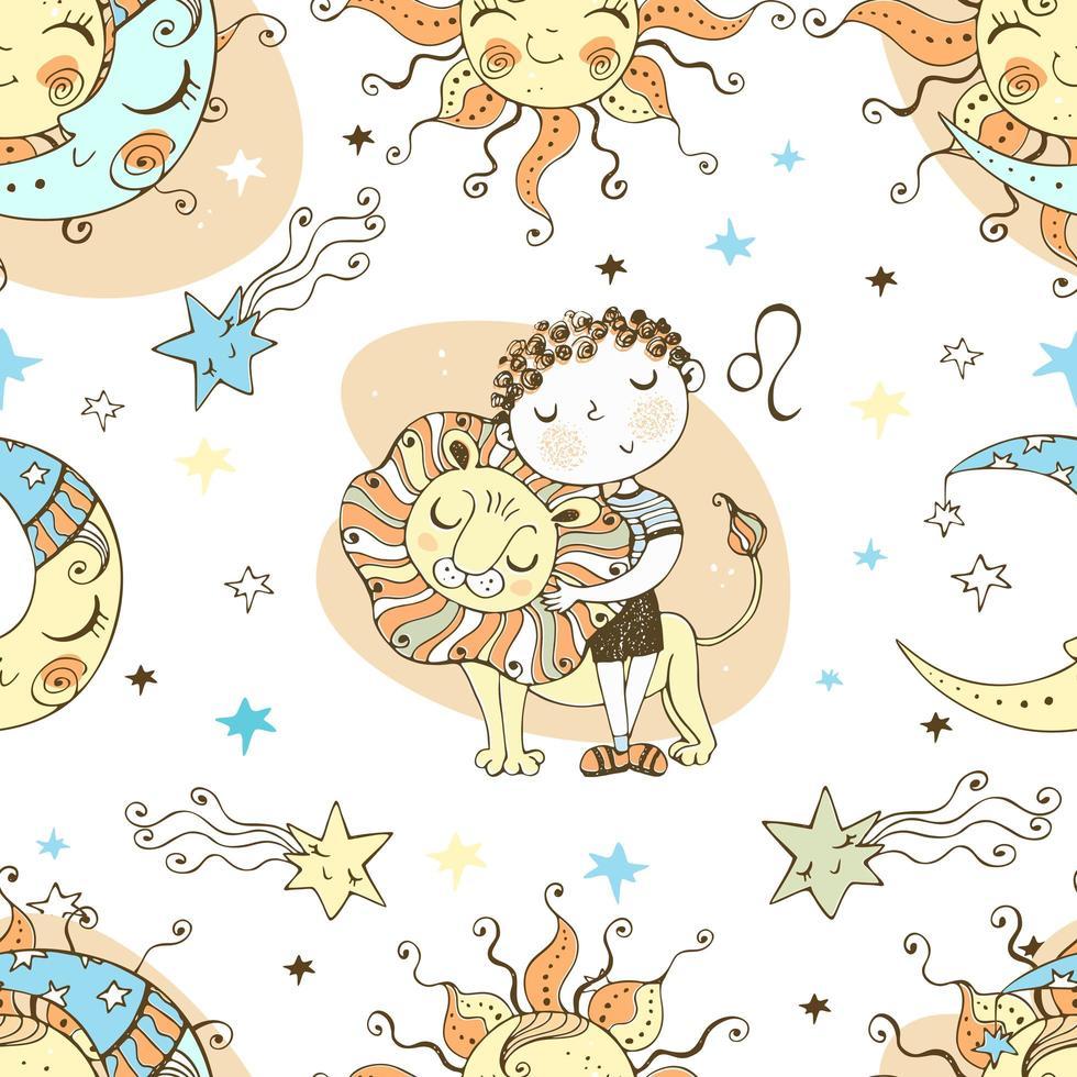 een leuk naadloos patroon voor kinderen. sterrenbeeld Leeuw. vector
