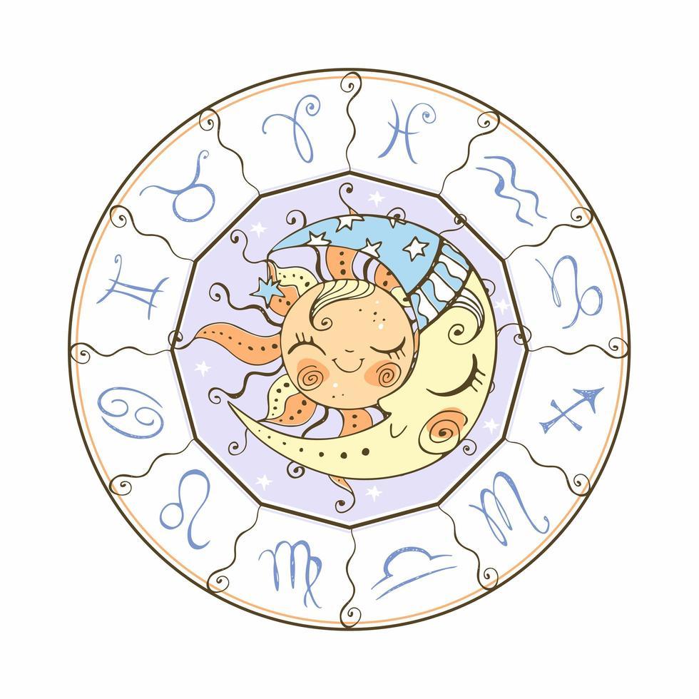 het astrologische symbool van de zon en de maan. vector