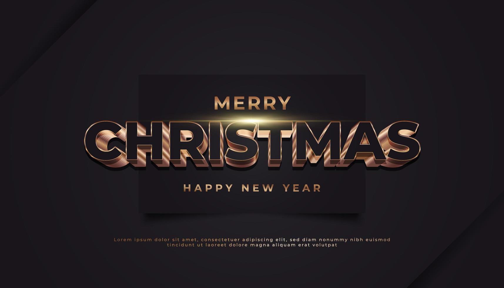 vrolijk kerstfeest banner met 3d gouden tekst op zwart papier vector