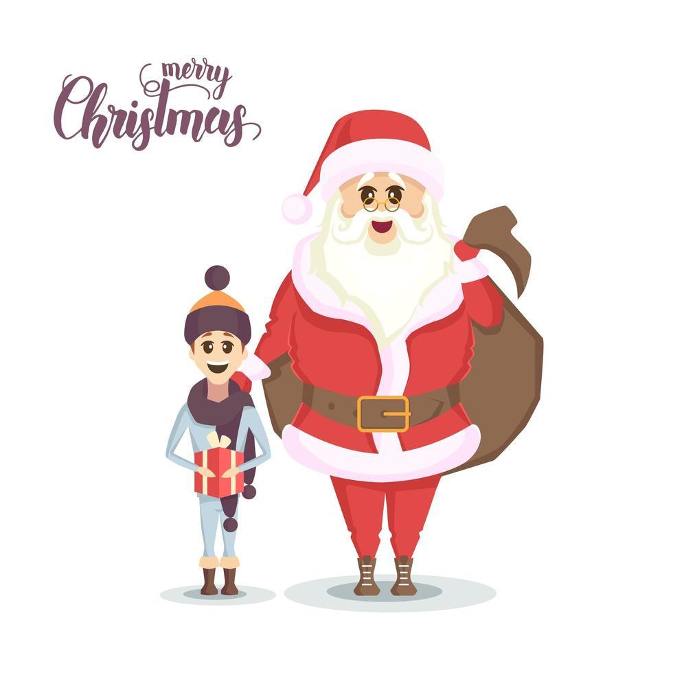 santa en gelukkige jongen met kerstcadeau vector