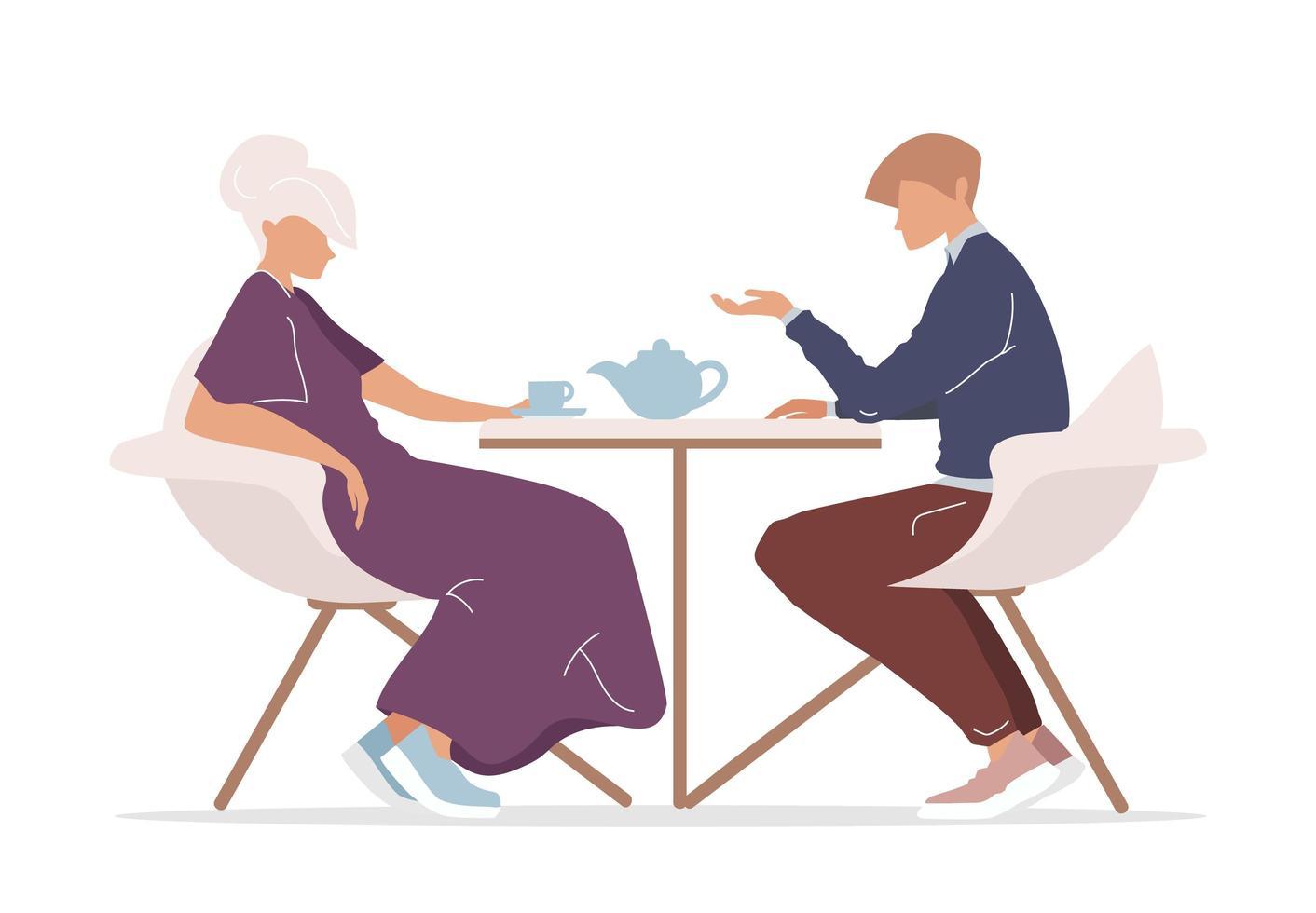 man en vrouw die thee drinken vector