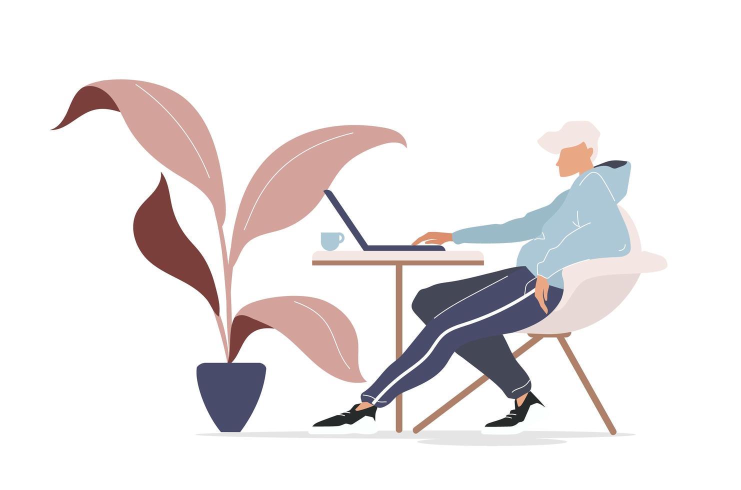 freelancer in café vector