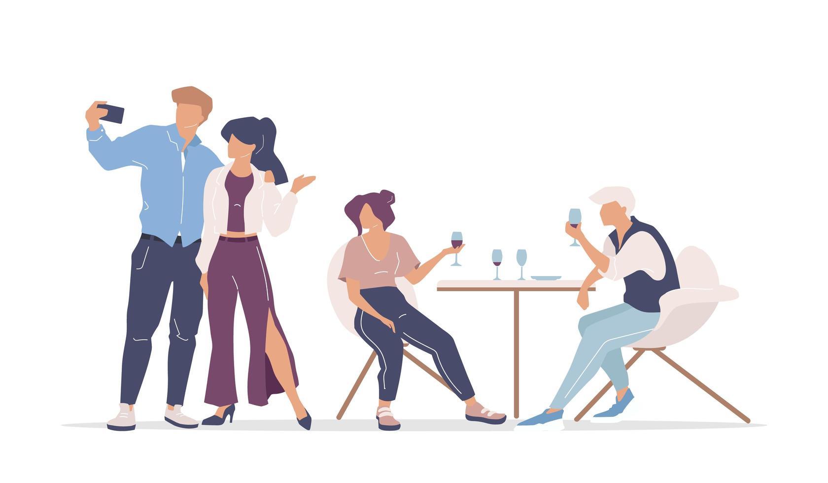 groep vrienden bij restaurant vector