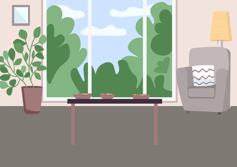 ruime woonkamer met tafel vector
