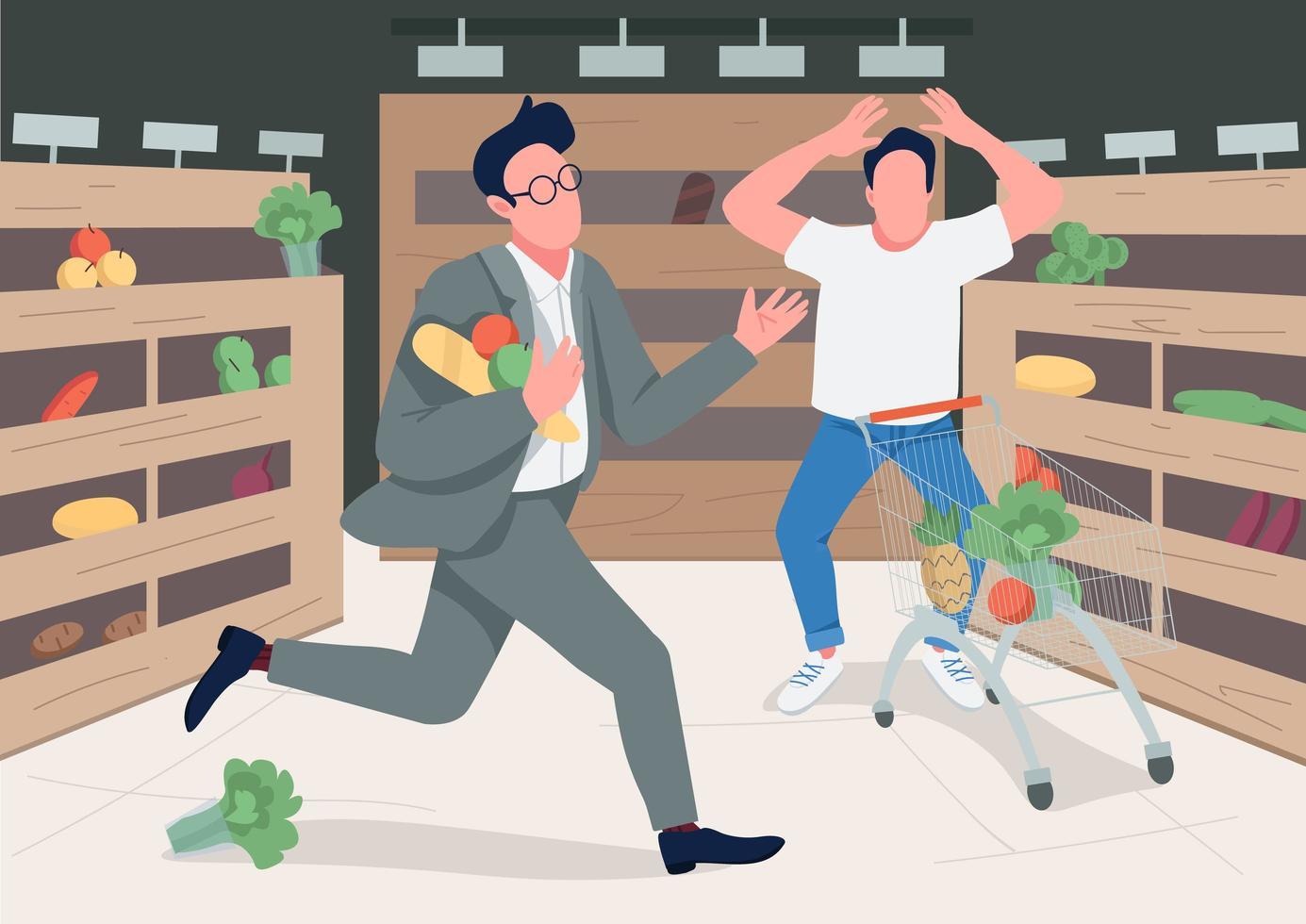 shoppers in paniek vector