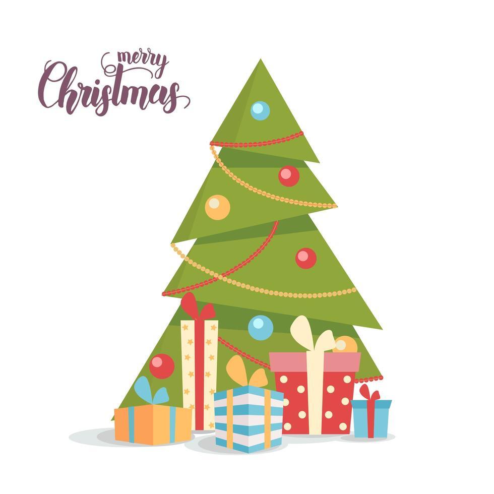 versierde kerstboom met geschenkdozen op wit wordt geïsoleerd vector