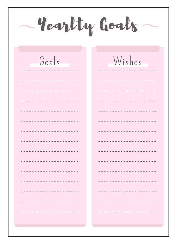 jaarlijkse doelen en wensen roze creatieve planner pagina vector