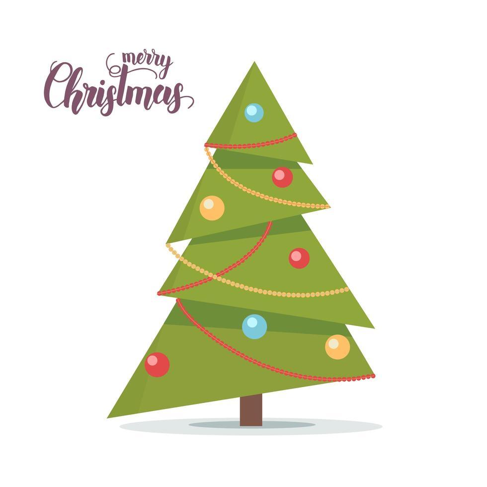 versierde kerstboom geïsoleerd op wit vector
