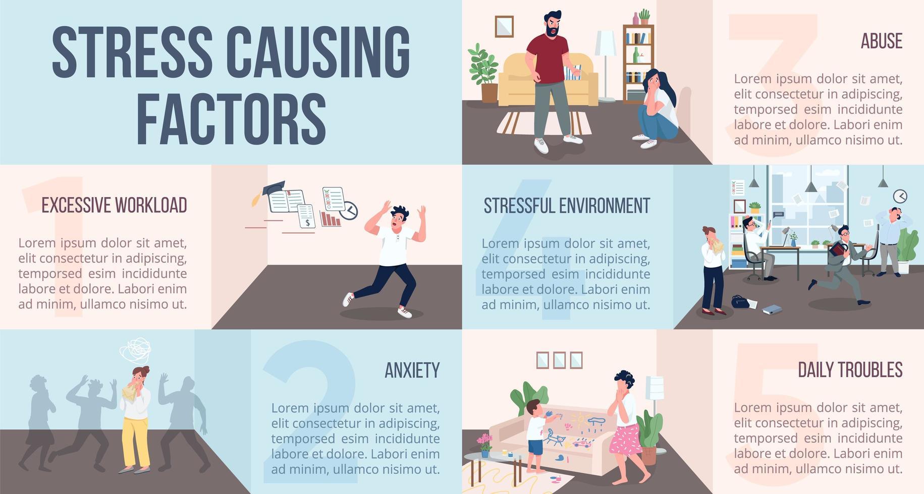 stress veroorzakende factoren infographic vector