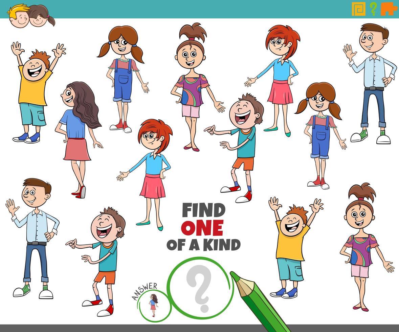 uniek spel voor kinderen met kinderen en tieners vector