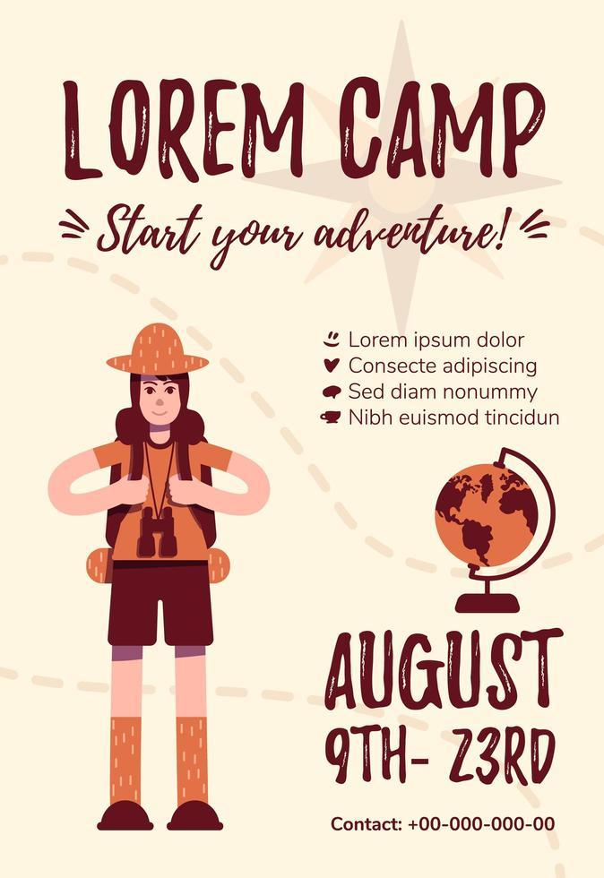 zomerkamp poster sjabloon vector