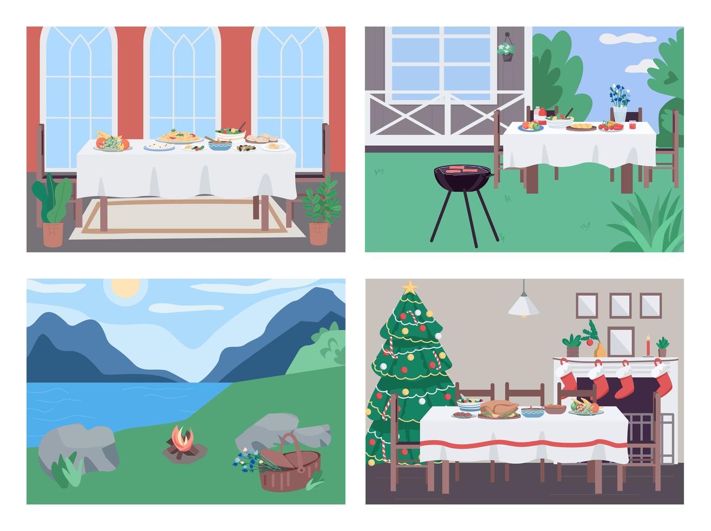 vakantie diner set vector