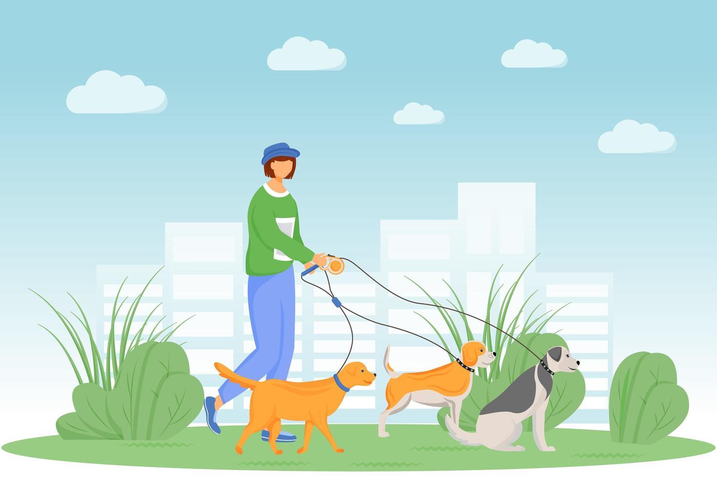 hond wandelen in het park vector