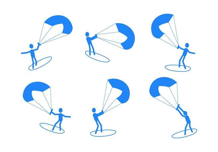 Vrijstaande Kitesurfing Vectors