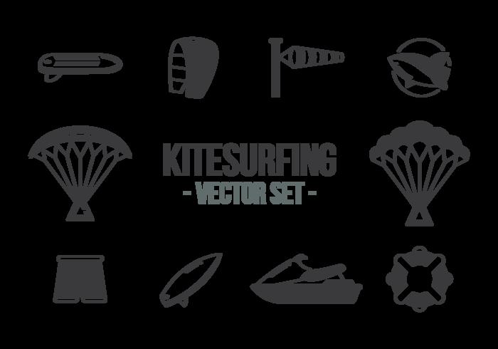 Kitesurfing Pictogrammen Vector