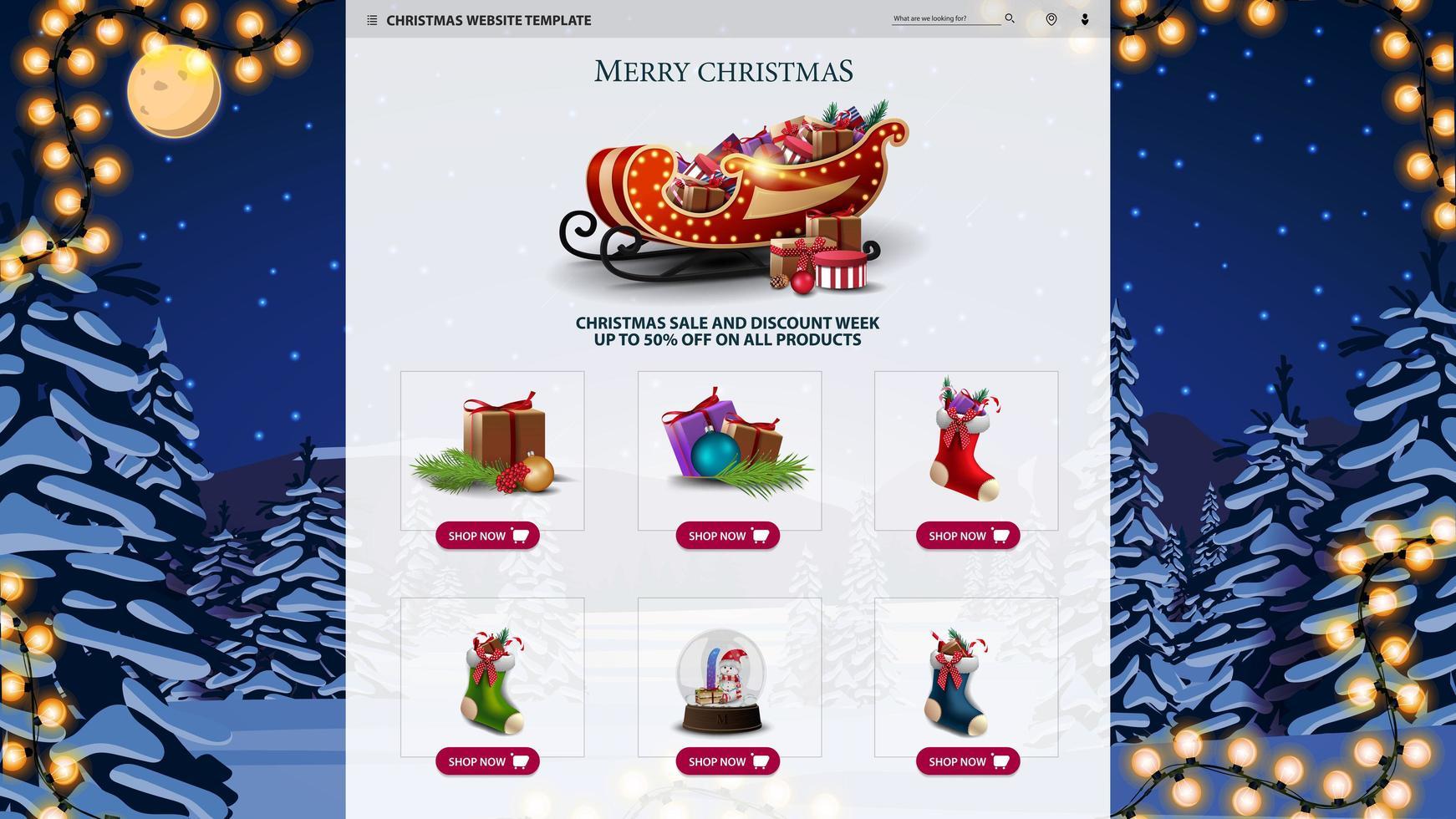 kerstwebsitemalplaatje met nachtlandschap vector