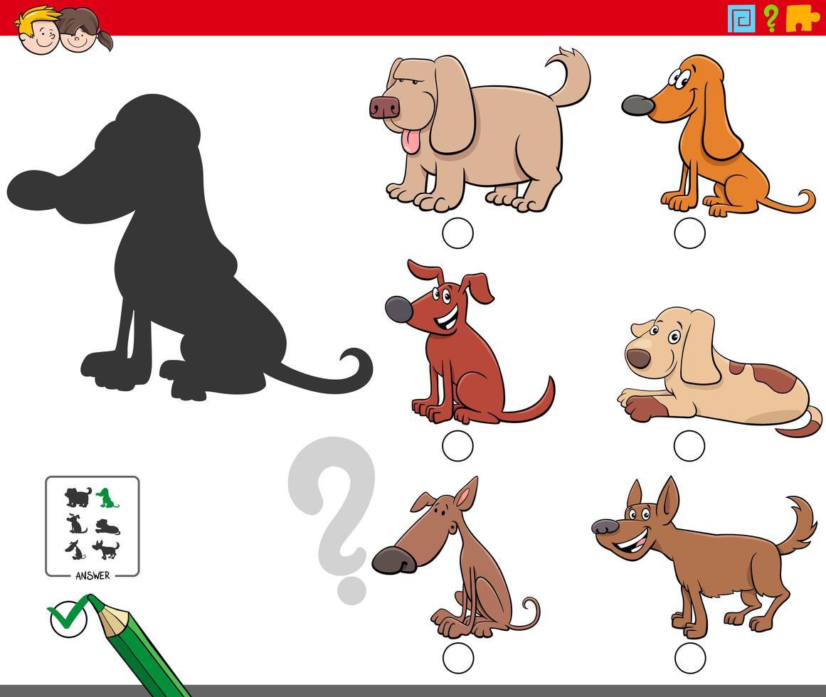 schaduwen spel met schattige hondenkarakters vector