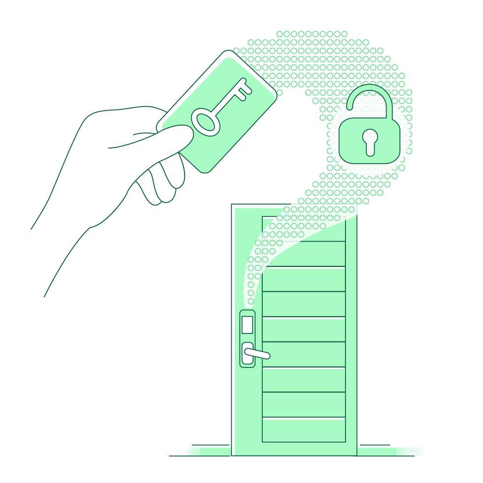plastic keycard en keyless slot vector