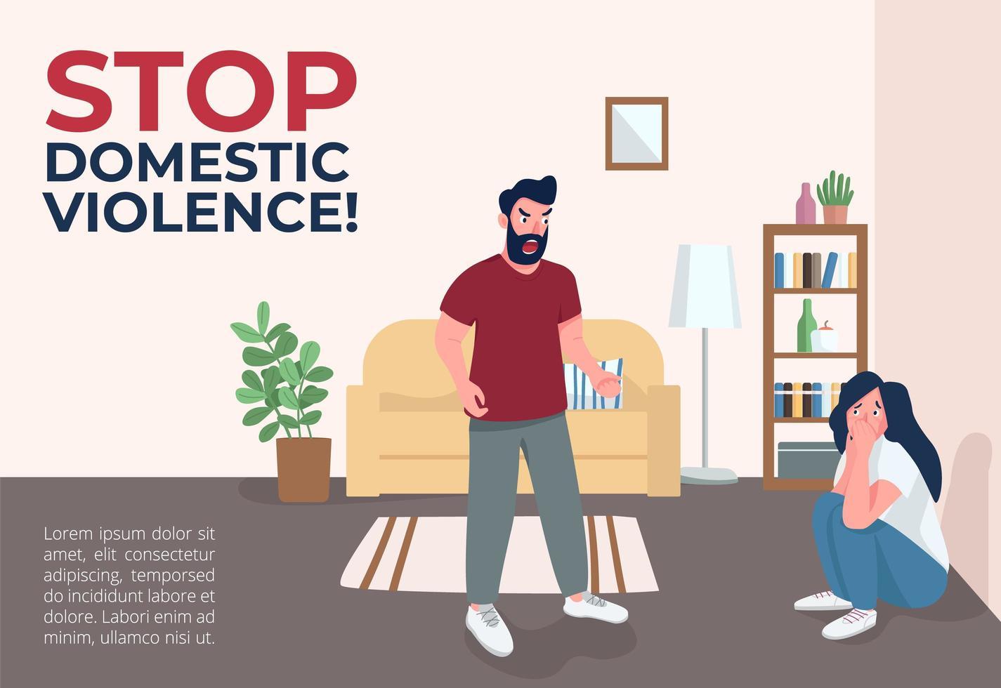 stop huiselijk geweld banner vector