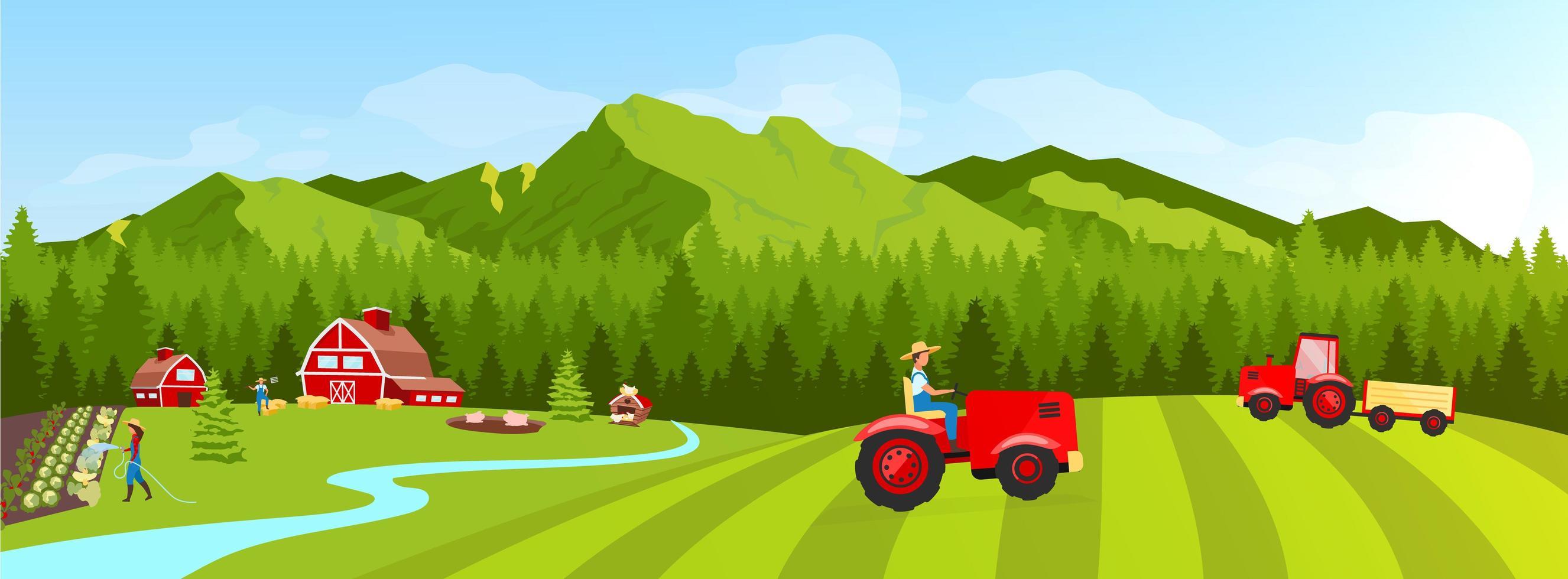tractor op de landbouwgrond vector