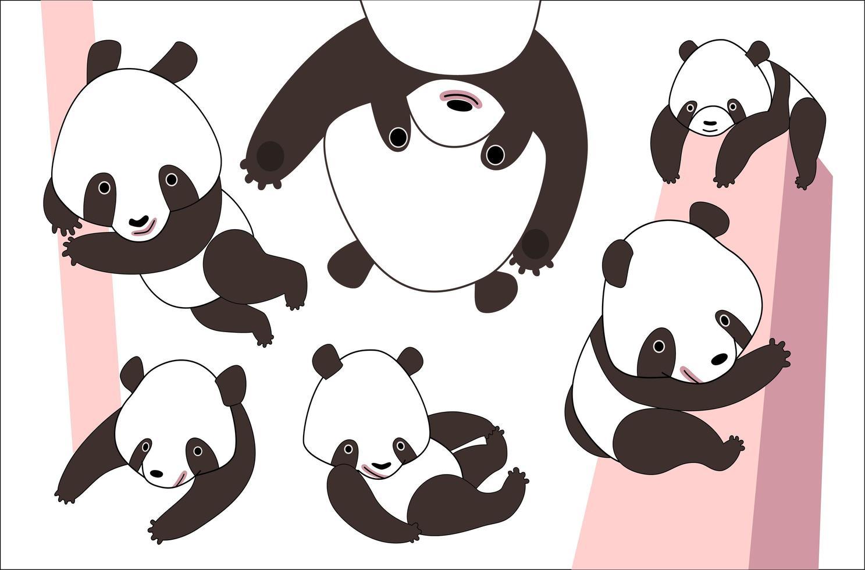 cartoon panda beer set vector
