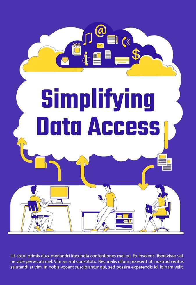 vereenvoudigde poster voor gegevenstoegang vector