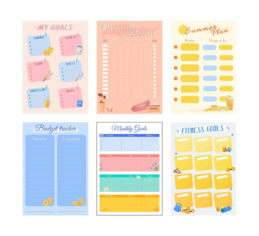 mijn doelen creatieve planner pagina decorontwerp vector