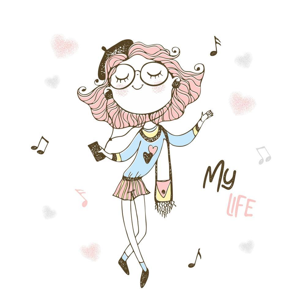 modieus tienermeisje, luisteren naar muziek met een koptelefoon. vector