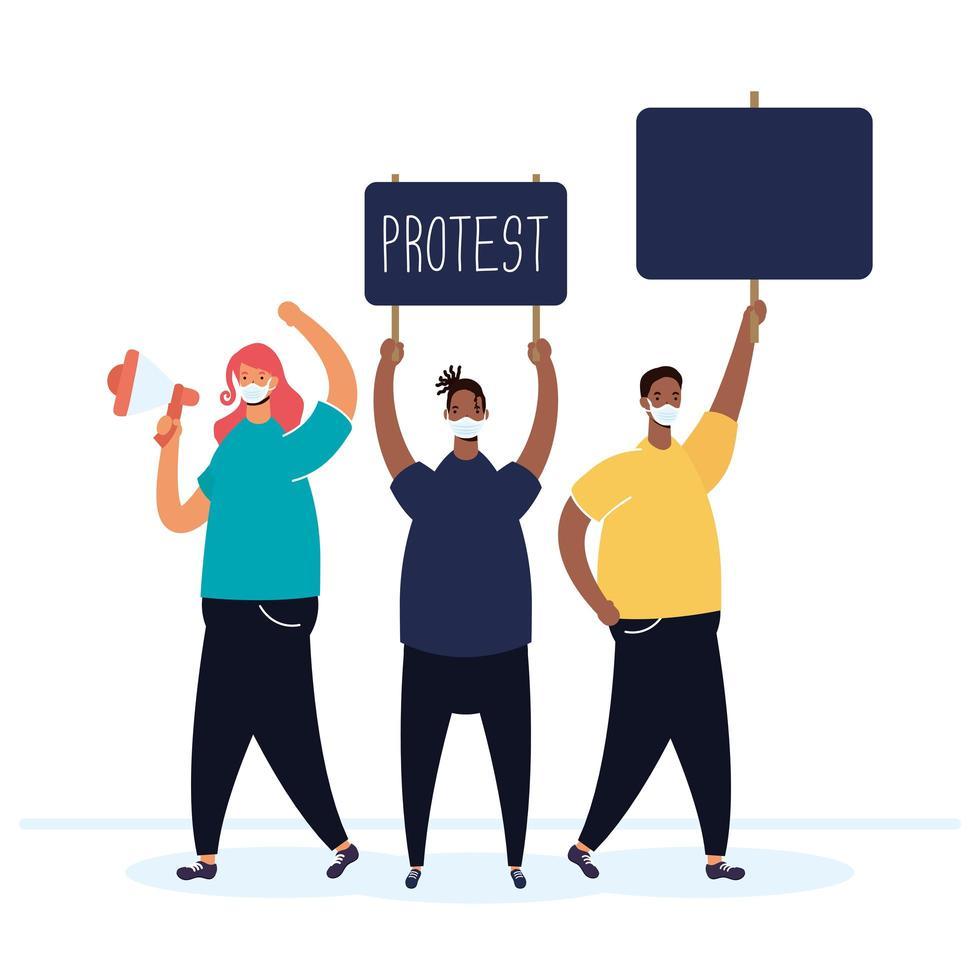 mensen die gezichtsmaskers dragen en protesteren vector
