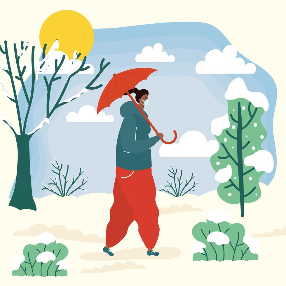 vrouw met gezichtsmasker in een landschap van koud weer vector
