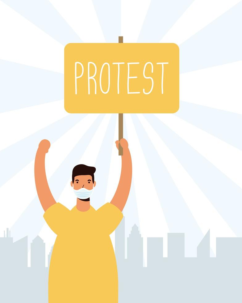 man met een bordje om te protesteren vector