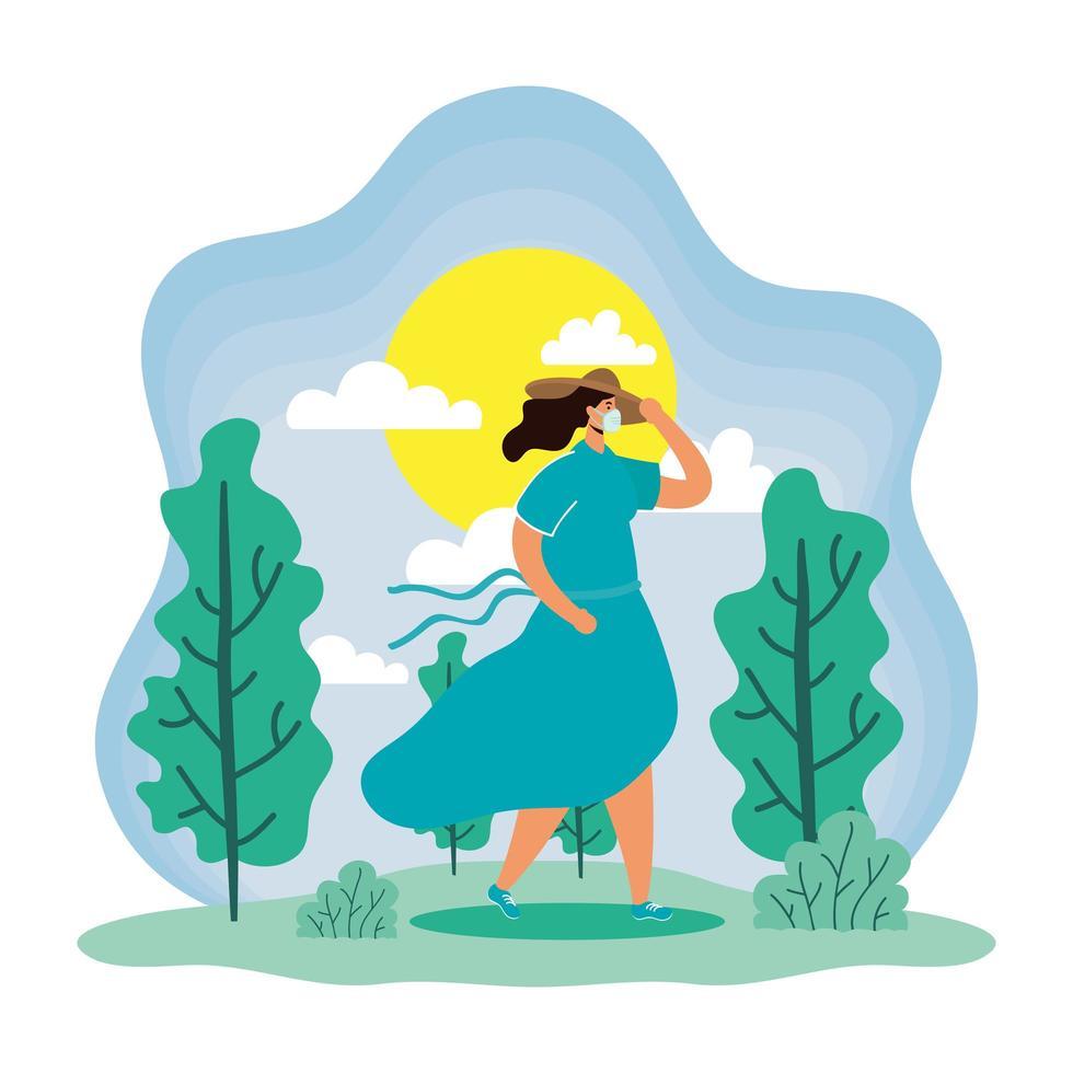 vrouw met gezichtsmasker in een zomerseizoenscène vector