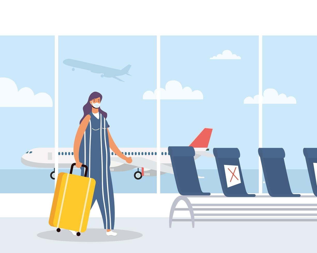 vrouw met gezichtsmasker en koffer op de luchthaven vector