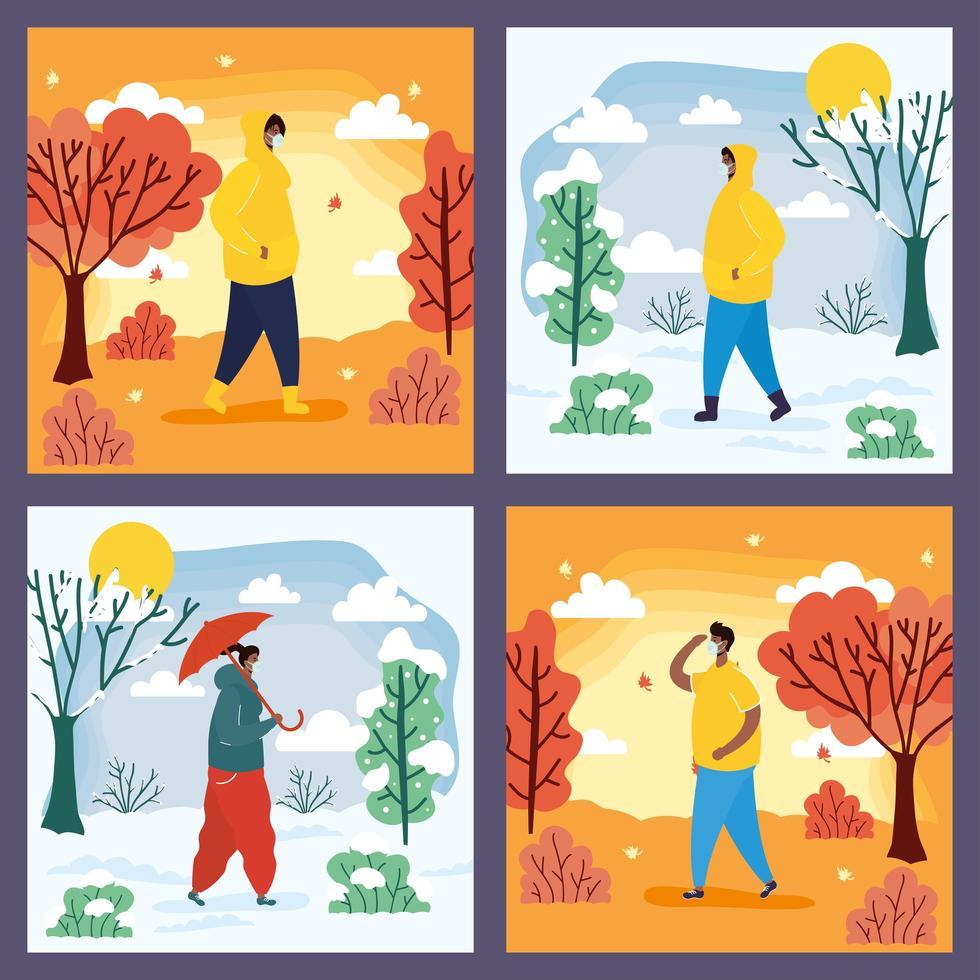 mensen buiten in verschillende seizoensscènes vector