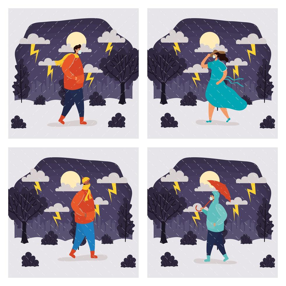 mensen buiten in een regenachtige weerscène vector