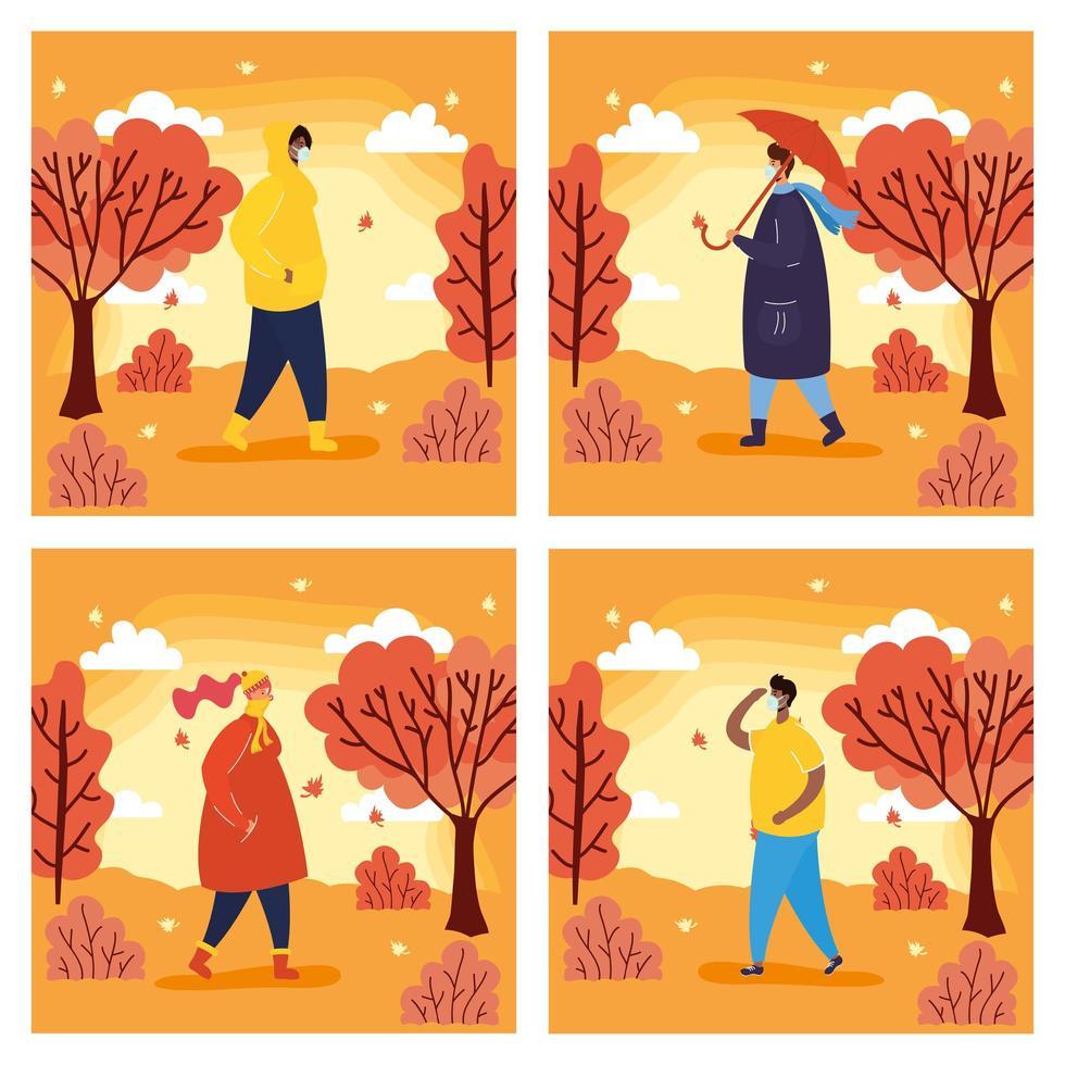 mensen buiten in een scène van het herfstseizoen vector