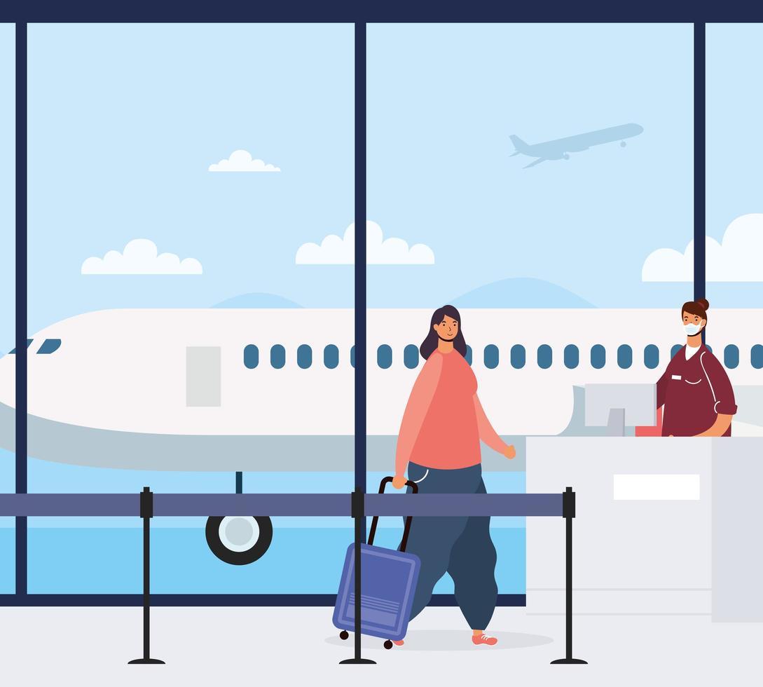 vrouw met koffer op de luchthaven vector